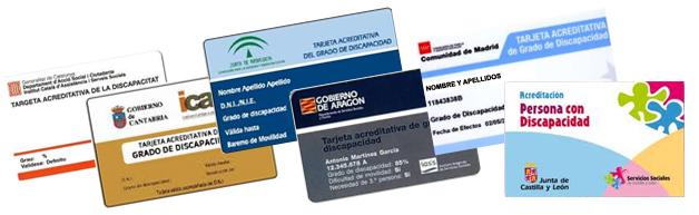 Tarjetas de discapacidad vigentes en Comunidades Autónomas