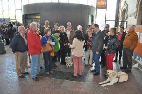 Asistentes a la visita del Museo del Ferrocarril de Gijón organizada por el Comité Terriitorial de UP Asturias